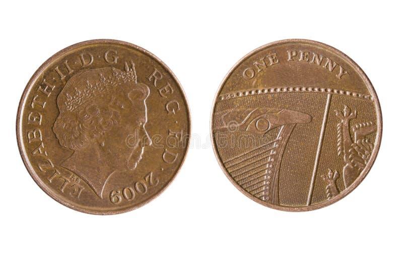 Británicos una Penny Coin Reverse Showing un segmento del escudo real imágenes de archivo libres de regalías