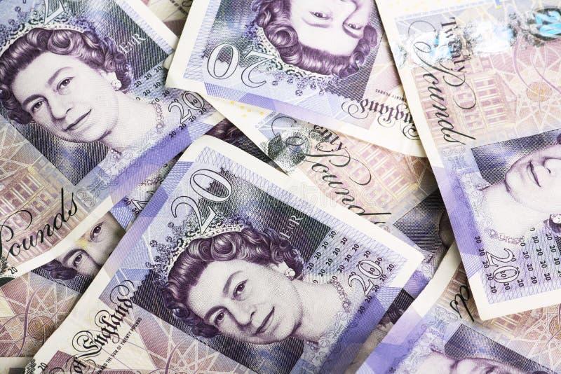 Británicos veinte notas de la libra fotografía de archivo libre de regalías