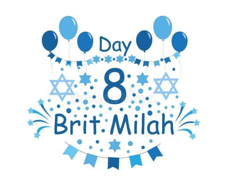 Brit Milah Jewish tradition ferie judendom Hälsningkort för en pojke också vektor för coreldrawillustration stock illustrationer