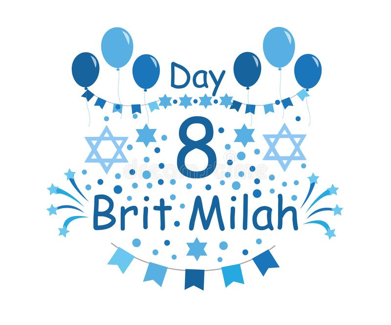 Brit Milah Jewish tradition. Holiday. Judaism. Greeting cards for a boy. vector illustration.  stock illustration