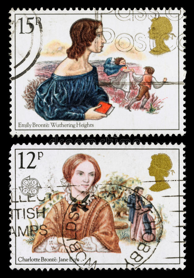 Britain Bronte Sisters Postage Stamps royalty free stock images
