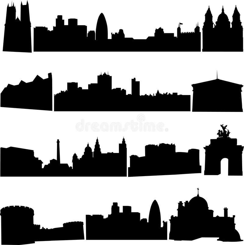 britain byggnader berömdt s stock illustrationer