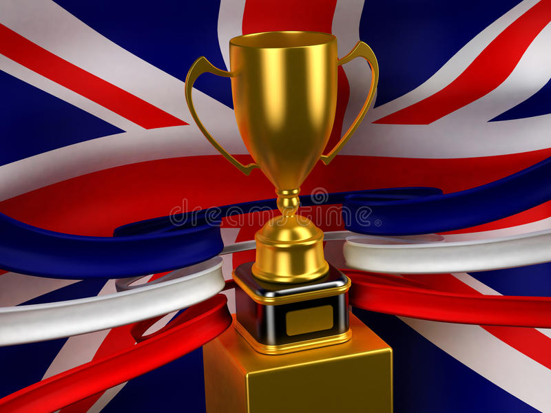 Download Britain flag with gold cup stock photo. Image of reflection - 16693362