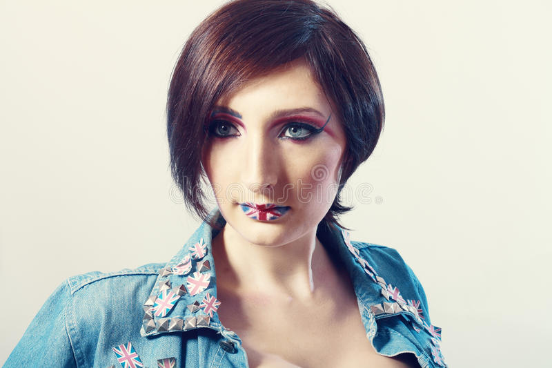Britain Flag On Her Lips Royalty Free Stock Photo