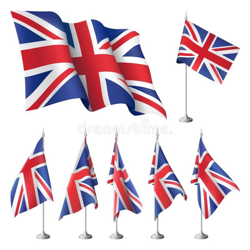 britain flags store royaltyfri illustrationer