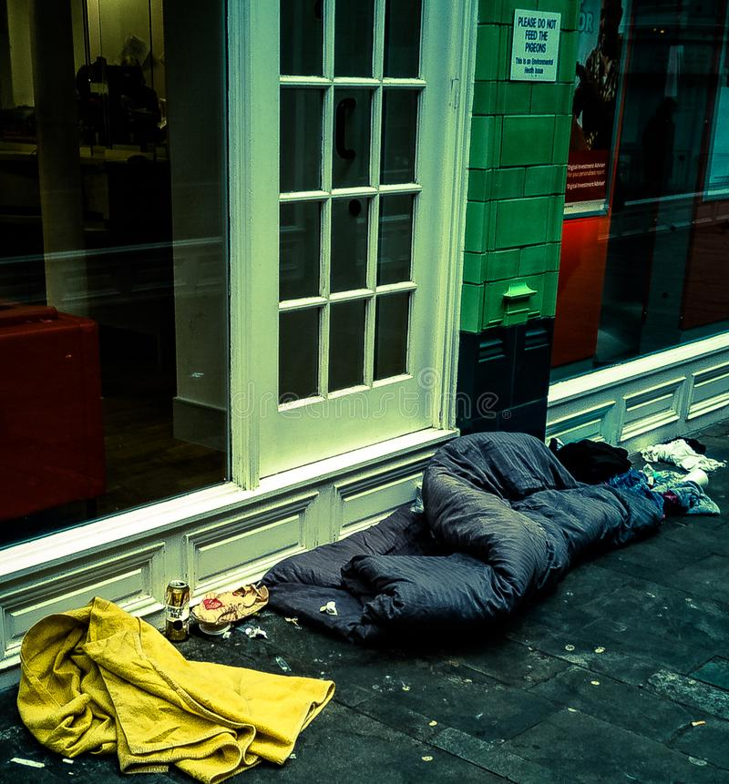 Britain 2019 Homelessness on the high street. Poor state of affairs Birmingham signs of addiction royalty free stock image