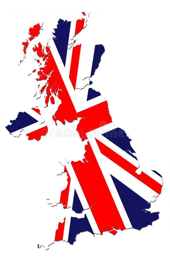 Britain Map. Flag on Bordered Britain Map vector illustration