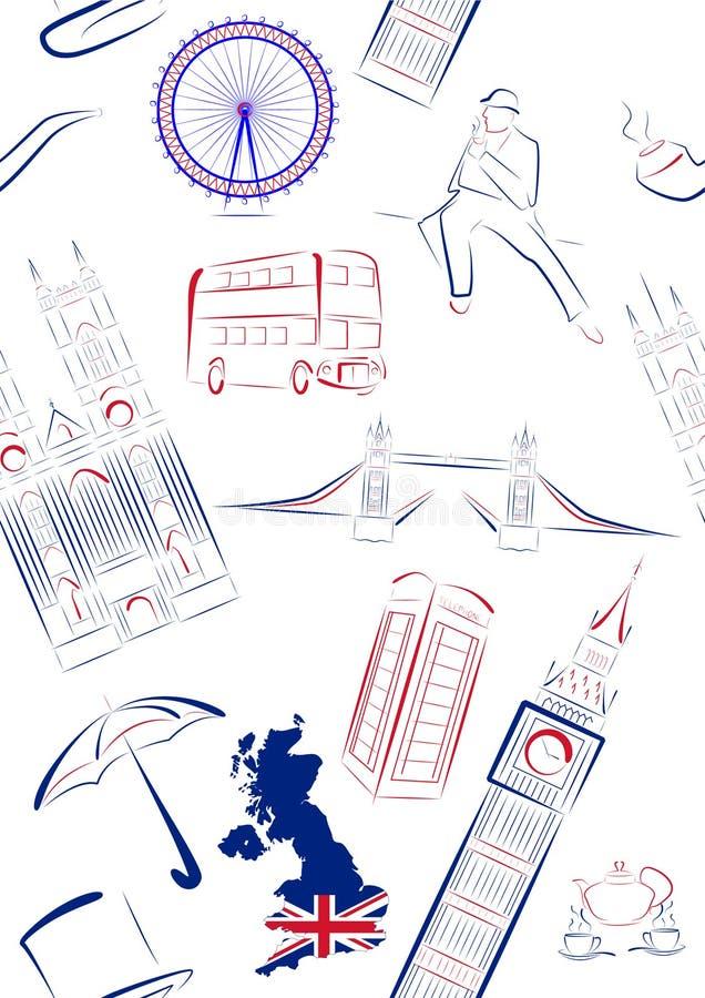 britain utmärkt seamless sightssymboler vektor illustrationer