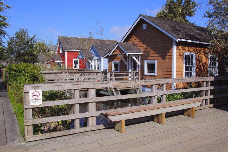 Britannia Shipyard Housing. Replicas of simple homes housing Japanese workers in turn of the century canneries stock image