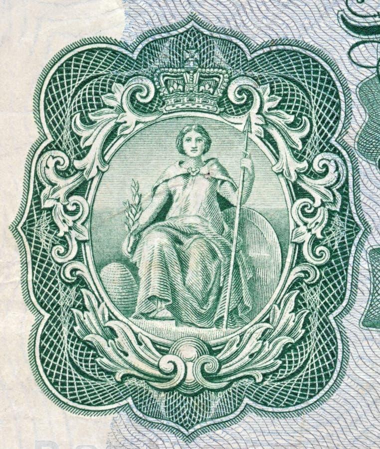 Britannia zoals die op een oud Engels bankbiljet wordt afgeschilderd stock foto