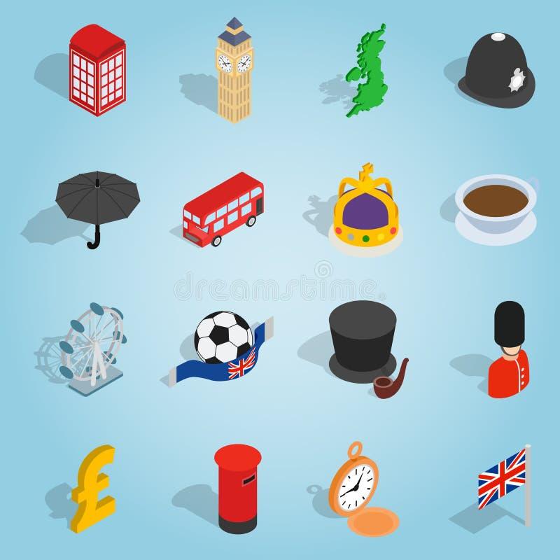 Britannien uppsättningsymboler, isometrisk stil 3d royaltyfri illustrationer