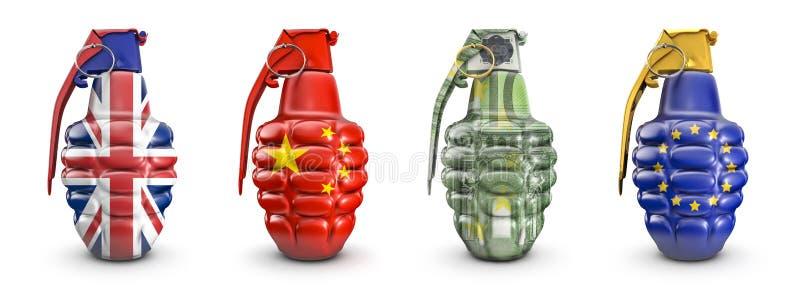 Britisch, chinesisch, 100 Euro- und EU-Granaten vektor abbildung
