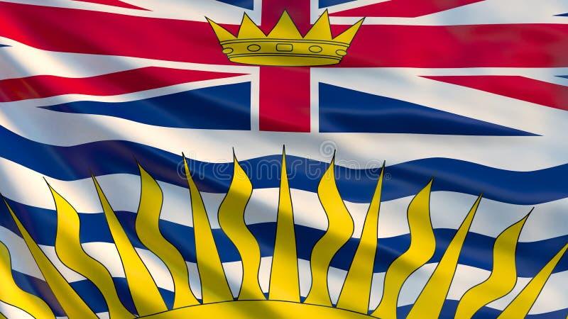 Britisch-Columbia-Flagge Wellenartig bewegende Flagge der Britisch-Columbia-Provinz stock abbildung
