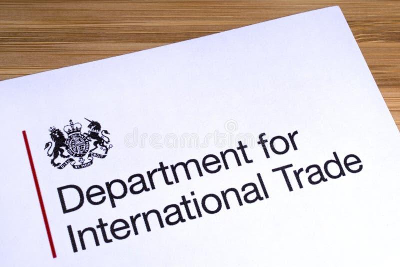 BRITISCHE Abteilung für internationalen Handel lizenzfreies stockfoto