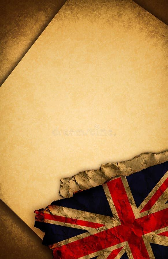 BRITISCHE Markierungsfahne und altes Papier lizenzfreie abbildung