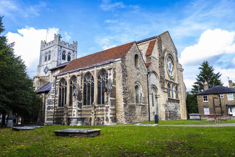 Britische Markstein-Kirche von Waltham Abbey Town lizenzfreie stockfotos