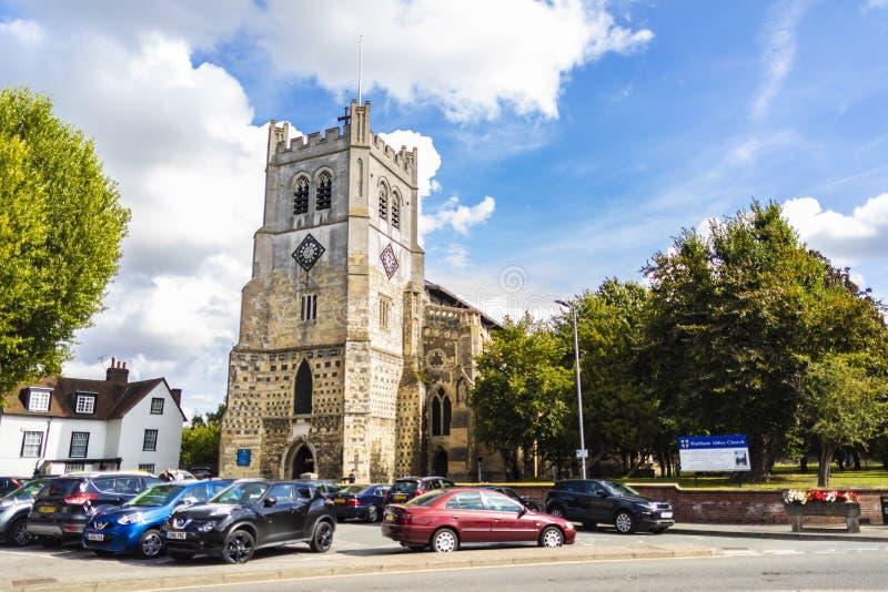 Britische Markstein-Kirche von Waltham Abbey Town lizenzfreies stockfoto