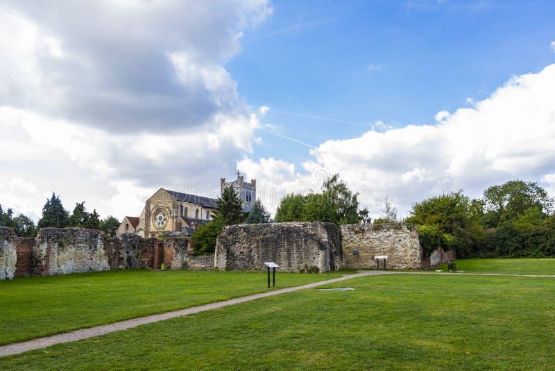 Britische Markstein-Kirche von Waltham Abbey Town stockbild