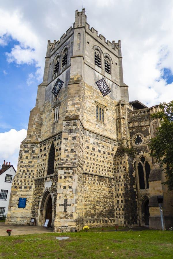 Britische Markstein-Kirche von Waltham Abbey Town lizenzfreies stockbild