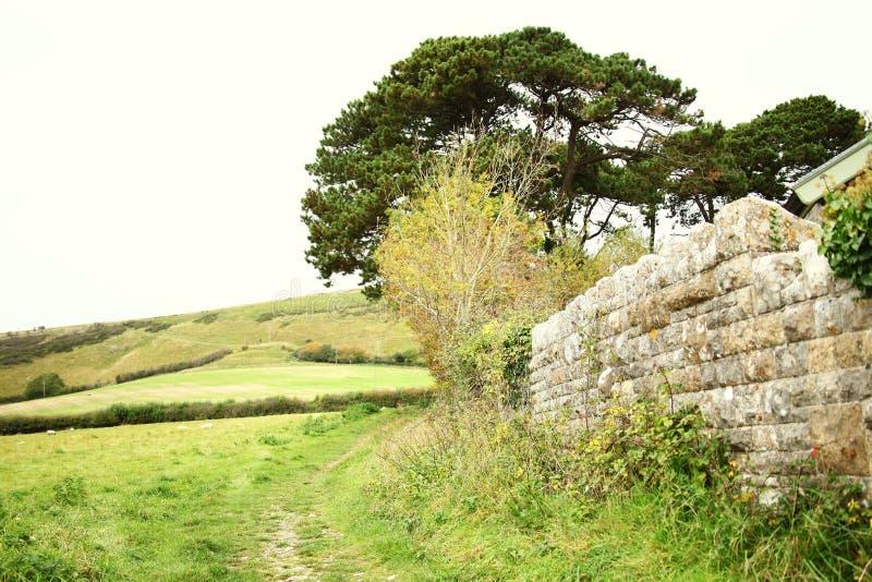 Britische Steinhausmauerart szenisch stockbilder