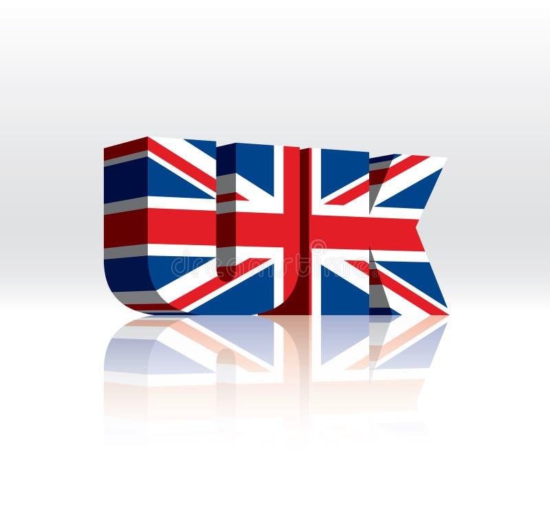 BRITISCHE Wort-Text-Markierungsfahne (des Königreich-) Vektor3d lizenzfreie stockfotos