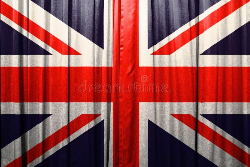 Britisches Flaggenmuster auf dem Vorhang lizenzfreie stockfotos