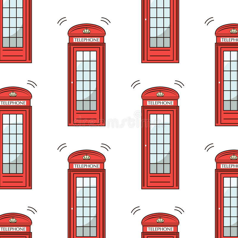 BRITISCHES London-Symbol - Ikonen - Schattenbild - Schablone - Telefonzellemuster der Vektorillustration rotes lokalisiert auf We vektor abbildung
