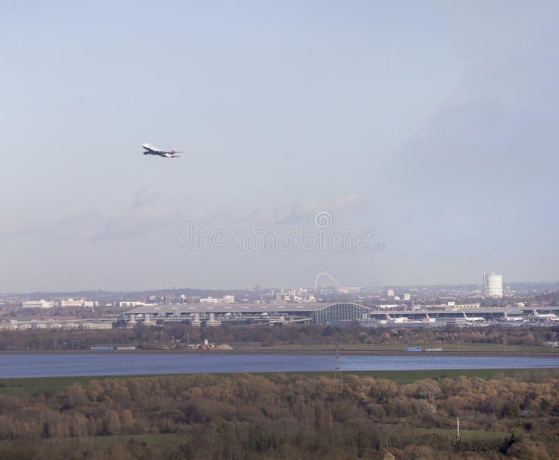 British Airways 747 που απογειώνεται από Heathrow στοκ φωτογραφία
