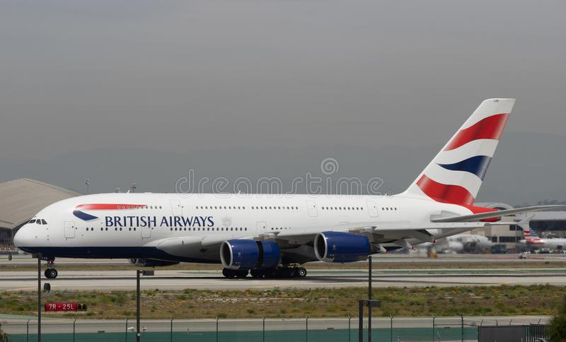 British Airways Aerobus A380 taxiing obrazy royalty free