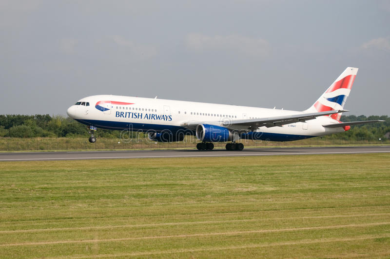 British Airways Aeroplane. An British Airways aeroplane taking off at Manchester airport royalty free stock photo