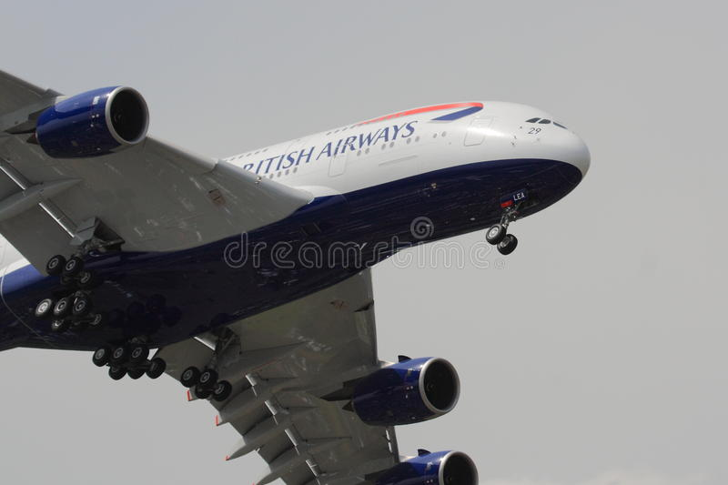 British Airways Airbus A380 à l'approche photo libre de droits