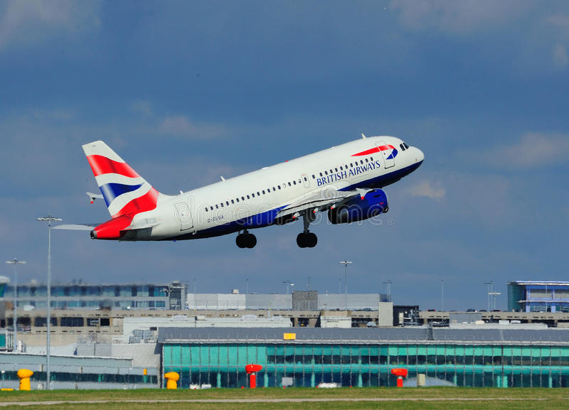 British Airways Airbus A319. Taking off from Manchester Airport royalty free stock image