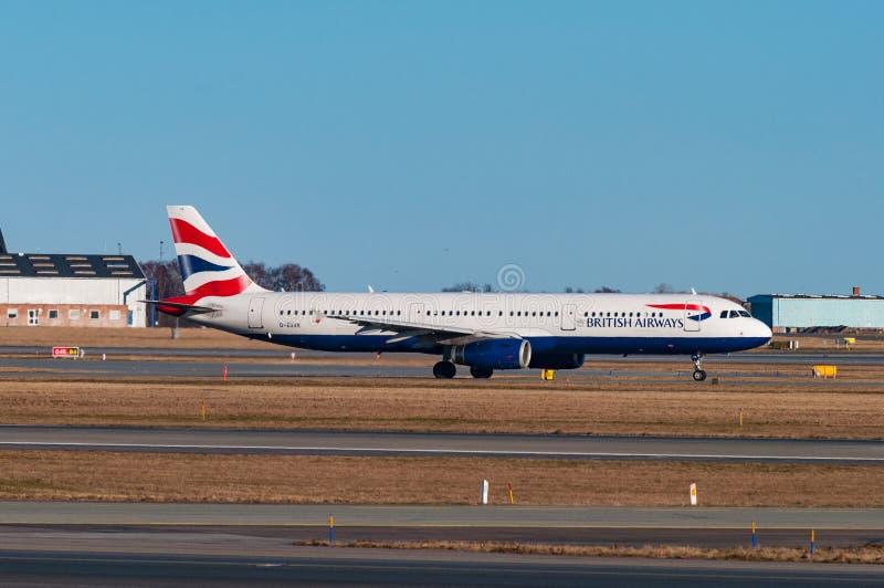 British airways Airbus A321 airplane in Copenhagen airport royalty free stock image