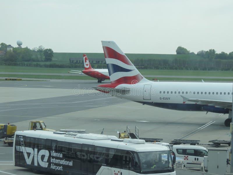 British Airways Airbus A320-232 parked in Vienna Schwechat. VIENNA SCHWECHAT, AUSTRIA - CIRCA APRIL 2017: British Airways Airbus A320-232 parked royalty free stock photos