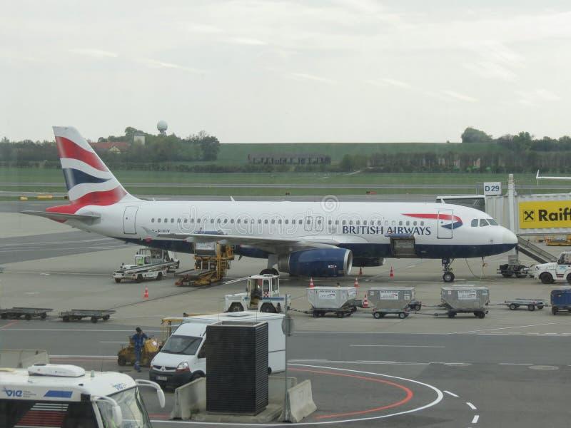 British Airways Airbus A320-232 parked in Vienna Schwechat. VIENNA SCHWECHAT, AUSTRIA - CIRCA APRIL 2017: British Airways Airbus A320-232 parked stock photo