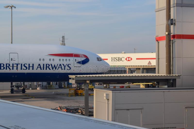 British Airways Aircraft Parked at London Heathrow Airport in Summer. View of a British Airways aircraft parked at London Heathrow airport on a sunny day stock photography