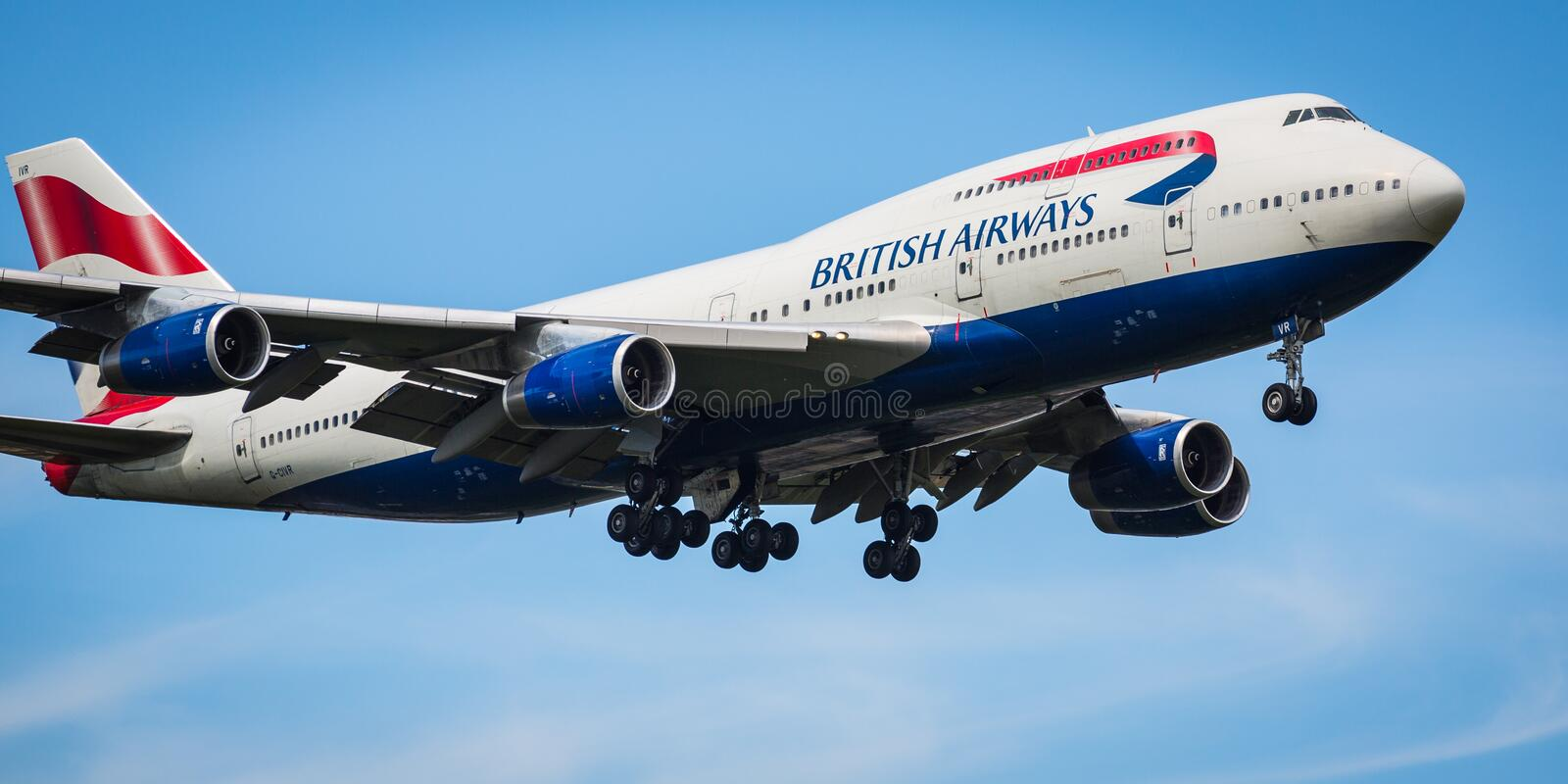 British Airways Boeing 747-400 aircraft. Landing at London Heathrow airport 2nd August 2015, serial G-CIVR royalty free stock image
