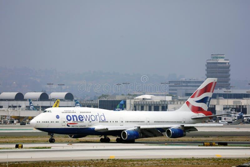 British Airways Boeing B747 vliegtuig dat opstijgt van Los Angeles Airport LAX royalty-vrije stock fotografie
