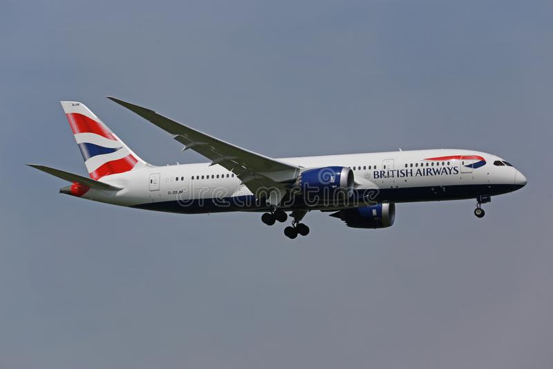 British Airways Boeing dat 787-800 landt stock afbeeldingen