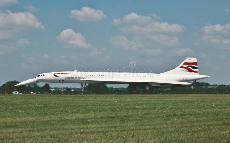 British Airways Concorde Supersonic airliner after landing  on July 19, 1997. stock photos