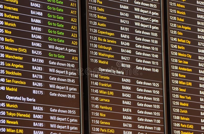 Flight Departure Board for British Airways Flights at London Heathrow Terminal 5. March 2019. A British Airways flight departure board at Heathrow Airport royalty free stock photos