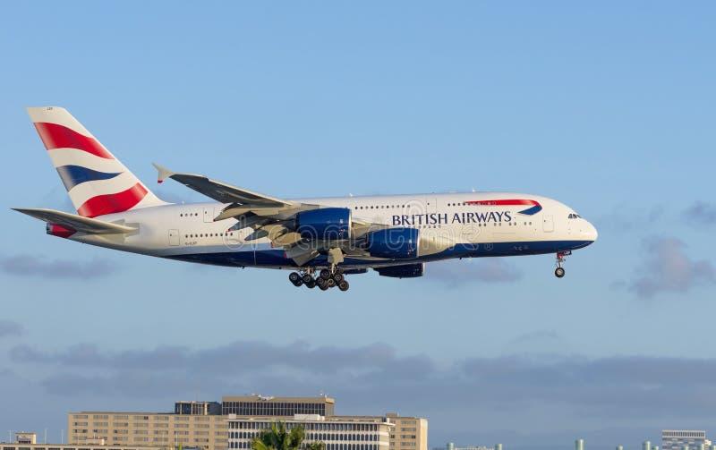 British Airways flygbuss 380 royaltyfri fotografi
