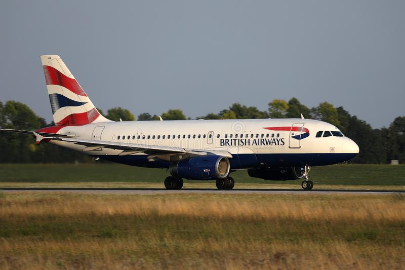 British Airways plane taxiing on Munich Airport, MUC. British Airways jet doing taxi on runway royalty free stock photos
