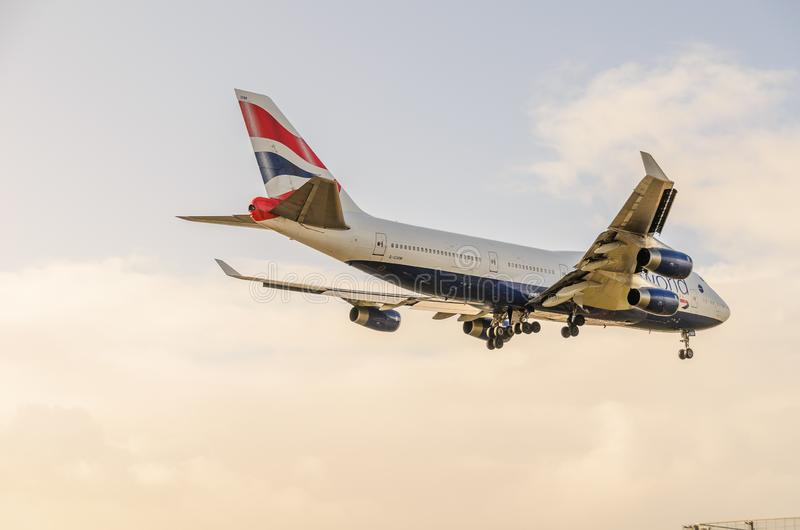British Airways 747 landing at Heathrow. October 2017 landing Gear down stock images