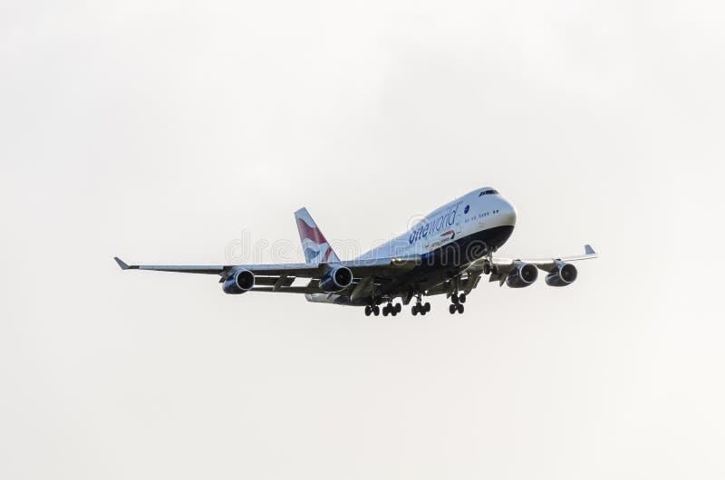 British Airways 747 landing at Heathrow. October 2017 landing Gear down stock photography
