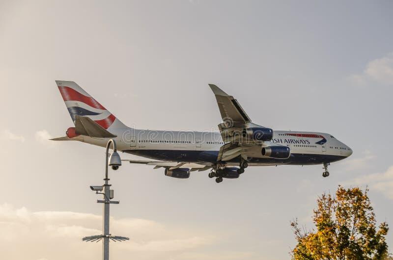 British Airways 747 landing at Heathrow. October 2017 landing Gear down royalty free stock image