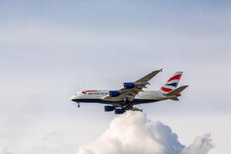 British Airways Over Clouds stock images