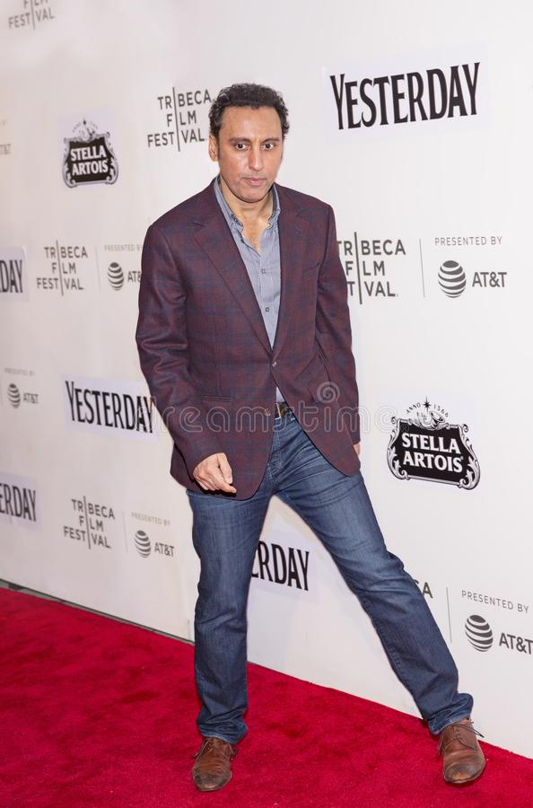 Aasif Mandvi at World Premiere of `Yesterday` at 2019 Tribeca Film Festival. British-American comedian and actor Aasif Mandvi arrives at the World Premiere of ` stock photo