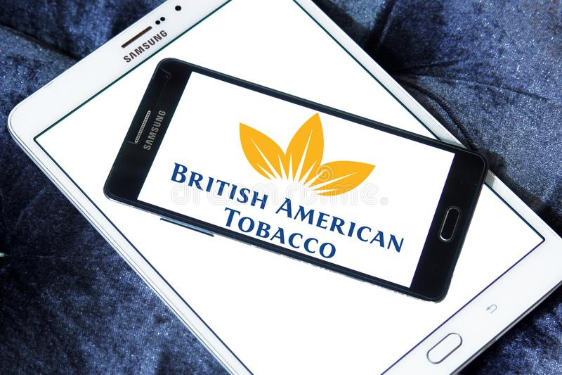 British American Tobacco company logo. Logo of British American Tobacco company on samsung mobile. British American Tobacco plc BAT is a British multinational royalty free stock images
