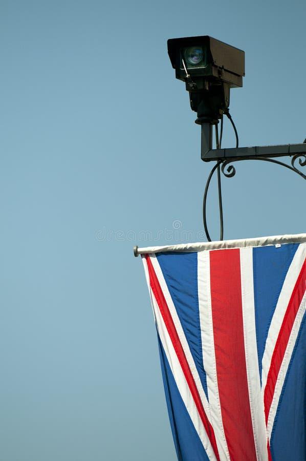 British CCTV camera with Union Flag royalty free stock photo